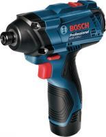 Bosch  GDR 120 Li akkus  ütvecsavarozó , kofferben, 2 db akkus(06019F0001) . Kompakt kialakítású, könnyen kezelhető készülék, mely mindig a megfelelő teljesítményt hozza. Akkuja kivehető, kapacitása 1,5 A, feszültsége 12 V. Üresjárati fordulatszáma az 1. fokozaton 1300, a 2. fokozaton 2600/perc.     A csavarozó 20 cm magas, 5,8 cm széles, 16,6 cm hosszú. Forgatónyomatéka maximum 100 N. A készülék töltési ideje 90 perc. Névleges ütésszáma 2800-3400 ütés/perc. Az  ütvecsavarozó  bittartója 1/4