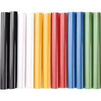 Extol  ragasztóstift  készlet, többszínű, 12 db-os kiszerelésben (9909) . A csomag az alábbi színeket tartalmazza: fekete, fehér, sárga, piros, kék és zöld.