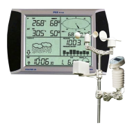 """A  PCE -FWS 20 érintőképernyős  időjárásjelzőnél a mért adatok rádióhullám segítségével jutnak el a belső egységig. A készülék4080 komplett mérési eredmény tárolására képes (állítható intervallumban: 5 perc - 240 perc). Méri a külső-belső hőmérsékletet, a külső-belső páratartalmat, szélsebességet. Kijelzi a szélirányt,""""szélhűtést"""