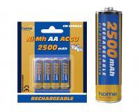Home akkumulátor , AA, 2500 mAh, Ni-Mh, 4 db (CM 2500AA)  alkalmas számtalan termék tápellátására, mint távirányítók, játékok, MP3/MP4 lejátszók, elemlámpák, CO/Gáz érzékelők, napelemes lámpák,  digitális fényképezőgépek .    Az  akkumulátor  mérete  ceruza (AA) , feszültsége  1,2 V , teljesítménye  2500 mAh . A csomagolásban  4 db elem található .