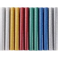Extol  ragasztóstift  készlet, többszínű, csillogós, 12 db-os kiszerelésben (9911) . A csomag az alábbi színeket tartalmazza: ezüst, arany, kék, piros és zöld.