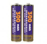 Home akkumulátor , AA, 300 mAh, Ni-Mh, 2 db (M 300AA/2)  alkalmas számtalan termék tápellátására, mint távirányítók, játékok, MP3/MP4 lejátszók, elemlámpák, CO/Gáz érzékelők, napelemes lámpák.    Az  akkumulátor  mérete  ceruza (AA) , feszültsége  1,2 V , teljesítménye  300 mAh . A csomagolásban  2 db elem található .