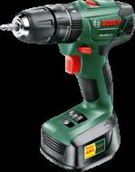 A   Bosch  PSB 1800 LI-2 lítium-ion  akkus ütvefúró-csavarozó   kis súlya és kompakt kialakítása miatt kategóriájának egyik legjobban kézreálló készüléke.  A lítium-ion technológiának köszönhetően a készülék  mindig használatra kész, nincs memóriaeffektus, nincs önkisülés.    A lítium akkuegységnek a Bosch elektronikus cellavédelem (ECP) biztosít hosszú élettartamot, védi a túlterhelés, túlhevülés, mélykisülés ellen.   Alkalmazható erőteljes fúrási csavarozási munkákhoz fában és fémben, valamint ütvefúrási munkákhoz falban.  Az optimális erő elosztást minden alkalmazáshoz a nyomaték előválasztás segíti, 20 nyomatékfokozattal, fúró- és ütvefúrási állással. A gyorsbefogó fúrótokmány Bosch Auto-Lock rendszerrel ellátott, ezáltal gyors és egyszerű a szerszámcsere. A fordulatszám Bosch-elektronika segítségével egy nyomógombbal szabályozható 0-400/ 1350 ford/perc tartományban. A beépített LED-munkalámpa biztosítja, hogy a munkafelület mindig jól látható legyen. Töltési állapot-és forgásirány kijelzőjének segítségével információt kapunk az akkumulátor töltöttségi szintjéről, valamint a forgásirányról. A biztonságos munkavégzés érdekében a markolat Softgrip lágyfogantyú bevonattal készült.   Az  Bosch  ütvefúró- csavarozót  a tartozékokkal együtt egy praktikus műanyag kofferben tárolhatja . Tartozékként szállítjuk:   1 db akkuegységet (1 600 Z00 000)  1 db 1- órás töltőkészüléket (1 600 Z00 001)  dupla csavarbegahjtóbitet  a műanyag koffer