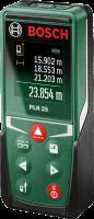Bosch PLR 25 digitális  lézeres távolságmérő  (0603672520) . Ideális eszköz a távolságok percíz és pontos mérésére. 4 funkcióval rendelkezik: folyamatos mérés, hosszúság mérés, összeadás, kivonás, felület- és térfogatszámítás.    Kijelzője színes, a mérési eredmények egyszerűen leolvashatók. Az utolsó 10 eredményt automatikusan elmenti.   A  lézeres távolságmérő  az első és hátsó éltől végzi a mérést. Kis méretének köszönhetően nadrág-, kabátzsebben is elfér.    Akár 25 méteres távolságig használható, mérési ideje 0,5 másodperc. kikapcsolási automatikája 5 perc. Akkumulátora  2 x 1,5-V-LR03 (AAA) elemről működik. A  távolságmérő  tartós mérési módja minimum és maximum funkcióval rendelkezik.