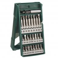 Bosch Mini X-Line csavarbitkészlet 25 részes tartalma:    - 16 db csavarhúzó bit L = 25 mm, PH 1/2/3, PZ 1/2/3, SL 4.5 / 5.5 / 8.0, HEX 4/5/6,  T 15/20/25/30  - 8 db csavarhúzó bit L = 50 mm, PH 1/2/3, SL 4.5 / 5.5, T 15/20/25  - univerzális tartó, mágneses    Praktikus műanyag dobozban szállítva.      Strapabíró szerszámok, hosszú élettartamra tervezve. A készleteket és kiegészítőket profi felhasználásra készítették a gyorsasági, ergonómiai, gazdaságossági, pontossági követelményeknek megfelelően.