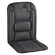 A   Waeco MH-40GS fűthető ülésborító   egyszerűen ráteríthető bármely gépjármű ülésére, a kampók és a csatok segítségével könnyen rögzíthető.    Beépített gerinctámasza és a meleg, amelyet nyújt kellemes üléskomfortot biztosít a hideg időben. Szivargyújtó aljzatról működtethető, 2 fokozaton. Az ülésfűtés túlmelegedés elleni védelemmel felszerelt. Hajlékony teflon fűtőszál biztosítja a meleget.   A  Waeco   ülésfűtés fekete színű- szürke mintás, nagy szakítószilárdságú, minőségi pamutból és műszálból készült. Hossza 1000 mm, szélessége 480 mm. Minőségi tanúsítványában E jóváhagyási jellel rendelkezik.