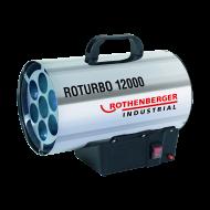 A Rothenberger Industrial Roturbo 12000 hőlégbefúvó, dupla falú rozsdamentes acél házzal készült.Teljesítménye 12 kW. A biztonságos üzemeltetést a túlmelegedés elleni termosztát és apiezoelektromos gyújtássegíti elő.    A készülék egyszerűen és könnyen mozgatható, szállítható a tetején lévő fogantyú használatával.Tartozékként szállítjuk az 1 m hosszú gáztömlőt,  nyomásszabályozót. A készülék szabványos PB palackkal működik.    A hőlégfúvó kiválóan alkalmazható ipari épületek, csarnokok, üvegházak, fóliasátrak gyors felfűtésére, építőiparban pl: a falak szárítására. A Rothenberger Industrial Roturbo 12000 hőlégbefúvó lakóhelyiségekben, pincében, alagsorban nem használható!    A terméket így is ismerheti:gázműködésű fűtőtest, légmelegítő készülék