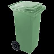 A zöld színű  háztartási szemetes kuka  űrtartalma  120 liter . Magassága 900 mm, szélessége 475 mm, hossza 550 mm. A szemetes kuka megfelel a rá vonatkozó európai követelményeknek és jogszabályokban leírtaknak (CE jelölés).  A háztartási kuka  könnyű helyváltoztatását elősegíti a 2 darab tömör kerék. Gépi ürítésre alkalmas. Terhelhetősége 60 kg.  Így is ismerheti: kerekes hulladéktároló, szemetes kuka   A háztartási kuka  forró folyadék vagy hamu tárolására nem használható. A zöld  szelektív hulladékgyűjtő kuka  általánosságban színes üveg és orvosságos üvegek tárolására és gyűjtésére alkalmas!