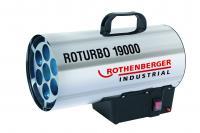 A Rothenberger Industrial Roturbo 19000 hőlégbefúvó, dupla falú rozsdamentes acél házzal készült.Teljesítménye 18,2 kW.   A biztonságos üzemeltetést a túlmelegedés elleni termosztát és apiezoelektromos gyújtássegíti elő.     A készülék egyszerűen és könnyen mozgatható, szállítható a tetején lévő fogantyú használatával.Tartozékként szállítjuk az 1 m hosszú gáztömlőt,  nyomásszabályozót és az 1,6 m hosszú, földelt csatlakozó dugóval ellátott gumikábelt.A készülék szabványos PB palackkal működik.     A hőlégfúvó kiválóan alkalmazható ipari épületek, csarnokok, üvegházak, fóliasátrak gyors felfűtésére, építőiparban pl: a falak szárítására. A Rothenberger Industrial Roturbo 19000 hőlégbefúvó lakóhelyiségekben, pincében, alagsorban nem használható!    A terméket így is ismerheti:gázműködésű fűtőtest, légmelegítő készülék