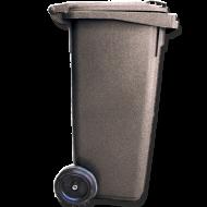 A fekete színű  háztartási szemetes kuka  űrtartalma 120 liter. Magassága 900 mm, szélessége 475 mm, hossza 550 mm. CE jelöléssel ellátott, az  EN 840-1 szabványnak megfelelő . A  háztartási kuka  könnyű helyváltoztatását elősegíti a 2 darab kerék, melyek átmérője 200 mm. Gépi ürítésre alkalmas. Terhelhetősége max. 60 kg.  Így is ismerheti: kerekes hulladéktároló, szemetes kuka  A háztartási kuka forró folyadék vagy hamu tárolására nem használható.