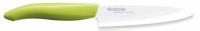 A  Kyocera szeletelő kerámia kés  pengéje  cirkónium- oxid   anyag ból előállított, ez által 50%- al keményebb, mint az acél. A kerámia kések élezését kézzel végzik, ennek eredménye, hogy rendkívül éles és ellenálló, élét 10-szer hosszabb ideig tartja meg, mint más professzionális kések.   A japán konyhakés   kerámiából készült,  ezért nem barnítja be a szeleteket, nem ad át fémes ízt és az ételek frissek maradnak  . Vegyileg közömbös, tehát nem lép reakcióba savakkal, olajokkal, sókkal, így nem rozsdásodik be.   A penge 13 cm hosszúságú, fehér színű. A kerámia kés   súlya igen csekély, ennek köszönhetően könnyű munkavégzést biztosít. Nyele ergonomikusan kialakított, zöldszínű . Biztos fogást kölcsönöz akár otthoni használat során, de a szakácsok számára is kiváló a kerámiakések piacvezető Kyocera szeletelő kése.   Tisztítása egyszerű, semleges mosogatószeres vízzel mossa el, majd öblítse le.