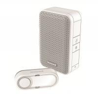Honeywell vezeték nélküli  csengő  (DC311E) . RF hatótávolsága nyílt terepen maximum 150 méter. Frekvenciája 868 MHz, hangereje 80 dB. 4 dallam közül választhat.    A csengő beltéri egysége 11 x 7 x 4,2 cm méretű, a nyomógomb 3 x 7 x 1,6 cm. Funkciói: hangjelzés, beépített sziréna. Egyedileg kódolt.   A  csengő  víz elleni védettsége IP55.     Elemállapot kijelzés, 2 féle riasztási idő (beépített sziréna mód).  A csengő beltéri egységének tápellátása 4 x AA (nem tartozék) elemes, míg a nyomógombé CR2032 (tartozék) elemes.    Mozgás és nyitásérzékelővel bővíthető.