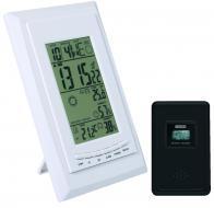 Home   időjárás állomás , külső jeladóvalHCW 21 . A készülék szimbólumok segítségével megjeleníti a várható időjárást. Az időjárás jeladó megjeleníti a külső-belső hőmérsékletet, páratartalmat, maximum és minimum értékeket. Hatótávolsága maximum 60 méter. Csatornánként beállíthat hőmérséklet riasztás értékeket. Emellett jelzi a saját, valamint a külső jeladó elemének állapotát.    Könnyedén üzembe helyezheti, további kezelését a kijelző is elősegíti. Az  időjárás előrejelző  tápellátásáért 2 x 1,5 V-os (AA), 2 x 1,5 V-os (AAA) elemek felelnek, melyek nem járnak tartozékként a termékhez. Maximum 3 külső jeladó kezelésére képes, 1 db tartozékként jár hozzá. Időformátuma: 12/24. Ébresztő és szundi funkciókat is meghatározhat.    A rádióvezérelt óra megjeleníti a pontos dátumot, időt és a hét napját, emellett beállíthatja a zónaidőt. A külső jeladó magassága 9,6 cm, szélessége 6 cm, míg hossza 2,6 cm, míg az állomás magassága 18,5 cm, szélessége 12,6 cm, hossza pedig 2,8 cm.