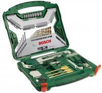 A Bosch X-Line Titánium szett 103 részes, tartalma:    - 18 db HSS-TiN fém fúró Ø 1-10 mm  - 7 db HM kőműves fúrószár Ø 3-8 mm  - 7 db fafúró Ø 3-10 mm  - 3 db bit, Titán Ø 16/22/32 mm  - 4 db mélységi ütköző 3/5/8/10 mm Ø  - 40 csavarhúzó fej L = 25 mm, PH, PZ, SL, T  - 8 mm dugókulcs 5/6/7/8/9/10/11/13  - 4 HCS körkivágó Ø 32/38/45/54 mm  Átmérő mérő, süllyesztők, mérőszalag, vízmérték, imbuszkulcs, mágneses univerzális tartó, dugókulcs adapter, kalapács, állítható csavarkulcs, tű fogó, kombinált fogó.    Praktikus műanyag kofferben szállítva.      Strapabíró szerszámok, hosszú élettartamra tervezve. A készleteket és kiegészítőket profi felhasználásra készítették a gyorsasági, ergonómiai, gazdaságossági, pontossági követelményeknek megfelelően.