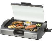 A   Steba  VG200  asztali grill   ideális akár a konyhában akár a kertben vagy teraszon. A rácsos felületen süthet zsírosabb húsokat, a sima felületen zöldséget, sajtot, halat, tengergyümölcseit.  Low-Fat technológiával  a zsiradék a gyűjtőtálba folyik.  2200 W -os teljesítménye garantálja a hatékonyságot.    A   Steba  VG200  asztali grill   üveg fedele a konyhában megakadályozza a kifröcsögést, a kertben szélfogóként használható.  Könnyen tisztítható  tapadásmentes bevonattal rendelkezik. Egyenletes hőmérséklet az egész  alumínium öntvény  grillfelületen, és gyors felfűtés az  integrált fűtőszálnak  köszönhetően. A fokozatmentes hőmérséklet szabályzás tovább egyszerűsíti a használatot. Osztott, rácsos és sima grillfelület.