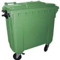 A  szemetes konténer  1100 liter űrtartalmú, zöld színben készült (11974). A kuka könnyű helyváltoztatását elősegíti a  4 darab  tömör kerék.   A zöld szelektív hulladékgyűjtő kuka általánosságban színes üveg és orvosságos üvegek tárolására és gyűjtésére alkalmas!     Így is ismerheti:  kerekes hulladéktároló, szemetes kuka