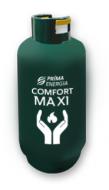 A Comfort Maxi 25 kilogrammos propán töltetű palack. Ideális hétvégi házakban, kempingekben az időszakos fűtésre, vagy többnapos szabadtéri rendezvényeken meleg víz készítésére is. Állattartó telepeken is jól helyettesítheti a meglévő tartályos vagy palackos gázellátó rendszereket, vagy az iparban útépítésekhez, tetőszigeteléshez ideális a használata.    A termék egyelőre nem rendelhető a  PrimaNet.hu szakáruházunkból !    Amennyiben szeretne vásárolni belőle, kérjük kattintson a GÁZRENDELÉS gombra, majd válassza az Ajánlatot kérek opciót, vagy hívja a PrímaGázfutárunkat (telefonszám a termékleírás alatt).  Amennyiben ön már a Prímaenergia Zrt.partnere, adja le rendelését a megszokott módon.