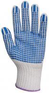 A 10-es méretű EP kötött textilkesztyű anyaga kilencszálas polipropilén, pamut.  Közepes vastagságú, rugalmasan kézre simuló, szöszmentes, kopásálló kesztyű amely véd a mechanikai ártalmakkal szemben.  A tenyérrészen a tetejükön lapított, megnövelt felületű kék pöttyök találhatók a csúszás ellen.  8-as és 10-es méretben rendelhető. Nemcsak munkahelyen, otthon, a ház körül is kitűnően használható.  Csúszás elleni textil kesztyű méretmegfelelőségek: 8-as (M méret), 9-es (L méret), 10-es (XL méret). Ez az  EP kötött textilkesztyű 10-es, XL méretű .