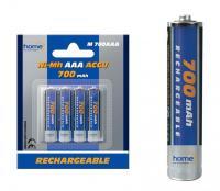 Home akkumulátor , AAA, 700 mAh, Ni-Mh, 4 db (M 700AAA)  alkalmas számtalan termék tápellátására, mint távirányítók, játékok, MP3/MP4 lejátszók, elemlámpák, CO/Gáz érzékelők, napelemes lámpák.    Az  akkumulátor  mérete  ceruza (AAA) , feszültsége  1,2 V , teljesítménye  700 mAh . A csomagolásban  4 db elem található .