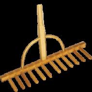 Fa begyűjtő gereblye   . A gereblye   ideális széna, szalma, trágya, udvaron felgyülemlett hulladék, valamint gaz, falevél, száraz fű összegyűjtésére. Ajánljuk még a fából készült  3 ágú fa szénavillát  (favilla). Szélessége 64,5 cm, hossza 161 cm, míg a fogak hossza 19 cm.