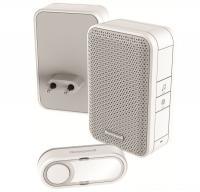Honeywell vezeték nélküli  csengő  (DC311EP2) . RF hatótávolsága nyílt terepen maximum 150 méter. Frekvenciája 868 MHz, hangereje 80 dB. 4 dallam közül választhat.    A csengő beltéri egysége 11 x 7 x 4,2 cm méretű, a nyomógomb 3 x 7 x 1,6 cm. Funkciói: hangjelzés, beépített sziréna. Egyedileg kódolt.   A  csengő  víz elleni védettsége IP55.    Elemállapot kijelzés, 2 féle riasztási idő (beépített sziréna mód).  A csengő beltéri egységének tápellátása vezetékes (230 V/ 50 Hz), míg a nyomógombé CR2032 (tartozék) elemes.    Mozgás és nyitásérzékelővel bővíthető.
