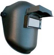 A   Hegesztő fejpajzs felhajtható szűrőüveggel ellátott, mely alatt a szemet védő színtelen üveg található. A fejkosár állítható boltozati magasságú és bőségű polietilén fejkosár. Biztonsági csattal felszerelt. A látómező 50 x 105 mm.    Eu szabvány: EN175, EN166    A fejpajzsot üveg nélkül szállítjuk!