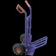 Malomkocsi  lenyitható platós áruk, termékek szállítására képes 200 kg-ig. Ennek a kocsinak a különlegessége, hogy platója fel- és lehajtható, ezáltal kevesebb helyet foglal és könnyebb tárolni. Segítségével nem lesz szüksége akkor erő kifejtésére, mint ha kézben pakolná a szükséges tárgyakat. Nyele kialakítása kényelmes fogást nyújt Önnek használat során. Kerekei felfújhatóak, átmérőjük 21 cm . A molnárkocsi magassága 112 cm, mélysége 40 cm, melyből a plató 24,5 cm. Tartozékként megvásárolható hozzá műanyagfelnis kerék , valamint fémfelnis kerék .
