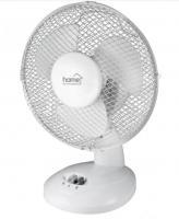 Home asztali ventilátor  (TF 23) . A készülék teljesítménye  21 W . A műanyagból készült lapát átmérője 23 cm. Magassága 39 cm, átmérője 27 cm.    A fej dőlésszöge állítható, az oszcillálás 90°. A  ventilátor  zajszintje 51 dB(A). 2 fokozattal rendelkezik. Tápkábele 1,45 méter hosszú.