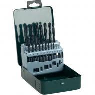 Bosch  HSS-R  fémfúró készlet , 19 db-os.     Tartalma: 1/1,5/2/2,5/3/3,5/4/4,5/5/5,5/6/6,5/7/7,5/8/8,5/9/9,5/10 mm átmérő fémfúró.     Praktikus fémdobozos csomagolással.    Alkalmas ötvözött és ötvözetlen acélhoz 900 N/mm² szakítószilárdságig, nemvasfémhez, szürkeöntvényhez, kemény műanyaghoz. A melegen történő alakítás nagyfokú rugalmasságot biztosít. Csekély a törésveszély, különösen a 6 mm-es átmérőnél kisebb fúrásnál. Oxidbevonatos spirálhoronnyal a gyors forgácskihordás érdekében. A Bosch HSS-R fémfúró készlet hosszú élettartammal rendelkezik a robusztus magvastagság és a munkatartomány keménysége által. N típusú jobbravágó spirálfúrók, 118°-os fúrócsúcs, átmérőtűrés: h 8. Görgőshengerlésű spirál köszörült éllel, vízgőzben megeresztve. A fémfúró készlet ben abefogószár megfelel a furatátmérőnek, a fúrószár színe: fekete. Két vágóélű fúró, hengeres, kétspirálú. Megjegyzés: A HSS-R fémfúrókkal történő munkavégzésnél használjon univerzális vágóolajat