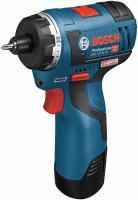 Bosch  GSR 12 V- HX  akkus fúrócsavarozó szett (06019D4101) . Kartonban kerül kiszállításra. 13,5 cm hosszú, 5,3 cm széles. A készülék hangnyomásszintje 71 dB(A), hangteljesítményszintje 82,6 dB(A), bizonytalansága 2,8 dB. Csavarátmérője maximum 7 mm. A csavarozó Li-ion-os akkuval üzemel, melynek feszültsége 12 V, kapacitása 2,5 ah.     45 perc töltési idő szükséges neki. Maximális furatármérője fában 3 cm, acélban 1 cm. Forgatónyomatéka (kemény/puha) 20/18 Nm. A fúró cellatípusa Lítium-ion, szerszámbefogása 1/4