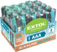 Az  Extol  elem  készlet 1,5 V AAA, LR03, amelyből 20 db  található a csomagolásban. Az elem mérete AAA, 1,5 V. Az  alkáli elemek  hosszú élettartamot biztosítanak, így a készülékeket, amelyekben elhelyezi huzamosabb ideig használhatja.