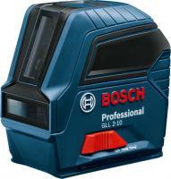 Bosch GLL 2-10 Professional keresztlézer (0 601 063 L00).   Ideális eszköz a sokoldalú és kompakt, rövid távolságon belüli szintezési munkálatokhoz. A keresztvonalas szintezőlézer vízszintes és függőleges lézervonalakkal pozicionálható.  Számos rögzítési lehetőség et biztosít a multifunkciós tartó. A vonallézer biztonságos szállításáról ingareteszelés gondoskodik. Egy kézzel is egyszerűen kezelhető.     Üzemi hőmérséklete -10 – 50 °C  , tárolási hőmérséklete -20 – 70 °C. Önszintezése vízszintesen és függőleges ±4°-ig.  Pontossága ± 0,3 mm  1 m-en. Üzemideje 6 h keresztvonalas és pontüzemben , 8 h keresztvonalas üzemben, 12 h vonal- és pontüzemben, 16 h vonalüzemben, 22 h pontüzemben. IP 54 védelmi osztályba tartozik, amely véd a por és fröccsenő víz ellen.     Színes lézer vonala piros  színű, 2 vonalban kivetítve. A piros lézer hatósugara 10 méter. Állvány mérete 1/4