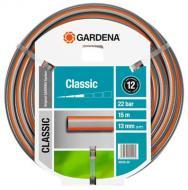 A   Gardena  Classic nyomásálló  tömlő   használat közben  megtartja alakját  köszönhetően a minőségi alapanyagnak, mely nem tartalmaz káros lágyítókat (ftalátokat) és nehézfémeket. A  tömlő  természetesen  UV ellenálló . Szükség esetén az Original   Gardena   System csatlakozóelemeihez és öntöző eszközeihez kitűnően használható. Repesztő nyomás 22 bar. A  12 éves garancia  a rendeltetésszerű használat esetén érvényes.