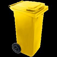 A  sárga színű  háztartási szemetes kuka  űrtartalma  240 liter . Magassága 1050 mm, szélessége 580 mm, hossza 730 mm. A szemetes kuka CE szabvánnyal ellátott. A háztartási szemetes kuka könnyű helyváltoztatását elősegíti a 2 darab tömör  kerék . Gépi ürítésre alkalmas. Terhelhetősége max 110 kg.     Így is ismerheti: kerekes hulladéktároló, szemetes kuka    A  háztartási szemetes kuka  forró folyadék vagy hamu tárolására nem használható.