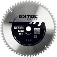 Extol  Craft keményfémlapkás  körfűrészlap 350 x 30 mm (19119) . Fához, faalapú anyagok  fűrészelésére használható. Edzett hidegen sajtolt acélból készült. A  fűrészlap  maximális fordulatszáma 4.300 ford/perc. T60, lapszélessége 3,5 mm.