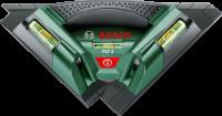 ABosch PLT 2 csempelézernél k  ét, egymással derékszöget bezáró és jól  látható lézervonal segít a csempe, padlólap és laminált parketta tökéletes lerakásában. A falitartó és a mágneses talplemez a falfelületek esetében is hatékony munkavégzést tesz lehetővé. Ahárom beépített vízmérték segítségével gyorsan beállíthatók az átlós és az egyenes minták is. Az illesztőéllel ellátott (pl. ajtókávákhoz) funkcionális talplemeznek 90°-os skálája van, 5°-os lépésközökkel. A nagyméretű, Softgrip lágyfogantyú csúszásmentes és stabil fogást eredményez. Használata a faliképek és polcok felrakását is elősegíti. 3 db1,5 V (AA) elemmel működik.