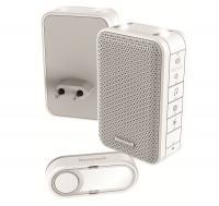 Honeywell vezeték nélküli  csengő  (DC313EP2) . RF hatótávolsága nyílt terepen maximum 150 méter. Frekvenciája 868 MHz, hangereje 84 dB. 6 dallam közül választhat.    A csengő beltéri egysége 11 x 7 x 4,2 cm méretű, a nyomógomb 3 x 7 x 1,6 cm. Funkciói: hangjelzés,  hang és fényjelzés , beépített sziréna. Egyedileg kódolt.   A  csengő  víz elleni védettsége IP55. Hangereje szabályozható.    Elemállapot kijelzés, 2 féle riasztási idő (beépített sziréna mód), stroboszkóp fényjelzés.  A csengő beltéri egységének tápellátása vezetékes (230 V/ 50 Hz), míg a nyomógombé CR2032 (tartozék) elemes.    Mozgás és nyitásérzékelővel bővíthető.