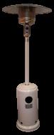 A   Tropico HSS fehér teraszfűtő hőgomba, hőkandeláber   biztonságos és egyszerűen kezelhető piezoelektromos gyújtással felszerelt gázfűtő, hősugárzó készülék. Fő jellemzője hogy nyílt égésterű gáztüzelésű berendezés, ezért csak szabadtéri területek, félig nyitott teraszok illetve legalább 30%-ban nyitott vagy szabadon hagyott falfelületű helységek temperálására, környezeti hőmérsékletének komfortos szinten tartására alkalmas. Egy Tropico HSS fehér térfűtő kb. 20-25 m2 felületű teraszt képes besugározni. Ez a gyakorlatban azt jelenti, hogy kb. 10 fokos külső hőmérséklet esetén a teraszfűtő 5 méteres távolságban kb. 17 fokra képes felmelegíteni a levegőt. A Tropico HSS fehér teraszfűtő kandeláber kis súlyának, kerekes kivitelének köszönhetően könnyen mozgatható, ugyanakkor szétszerelve kis helyet foglal, viszont a szerviz igénye minimális. A teraszfűtő kandeláber égőfejének üzemeltetése szabványos 11,5 kg-os PB-gázpalackkal történik, amellyel kb. 30 órán keresztül működtethető. A készülék gázfogyasztása 450-870 g/h.    A  Tropico HSS fehér teraszfűtő hőgombahasználata rendkívül egyszerű : a bármely gázcseretelepen beszerezhető 11,5 kg-os PB-gázpalackra van csak szükség és a szakszerűen beüzemelt Tropico HSS fehér teraszfűtő kandeláber már használható is! Amennyiben nem kíván elmenni a legközelebbi gázcseretelepre, úgy hívja PrímaGázfutár szolgáltatásunkat és kollégáink ingyen kiszállítják önnek a gázpalackot!    A készülék használatához nyomáscsökkentő csatlakoztatása szükséges.  A Tropico HSS fehér teraszfűtő kandelábert AJÁNDÉK nyomásszabályzóval szállítjuk!       Kiváló megoldás teraszok, erkélyek, sátrak, kerthelyiségek vagy kisebb szabadtéri területek, rendezvényhelyszínek, csarnokok fűtésére.     A   Tropico HSS fehér teraszfűtő hőkandeláber   használatának előnyei: Meghosszabbított szezon, elégedett vendég, nagyobb forgalom; Alacsony üzemeltetési költség; Gazdaságos használat, hőmérsékletnek megfelelő teljesítményszabályozás; Könnyű, kényelmes, egyszerű haszná