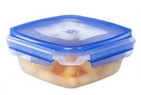 Csatos, szögletes műanyag ételdoboz 1,5 l kék