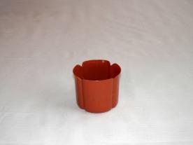 Virágtartó kaspó, szirom formájú, 8 cm, terrakotta műanyag