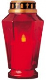 Home LED-es temetői gyertya piros mécsestartóban (CDP 18)