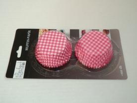 Muffinpapír pink kockás 100 db, nagy (72101-2)