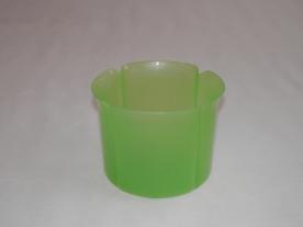 Virágtartó kaspó, szirom formájú, 13 cm, átlátszó, zöld műanyag