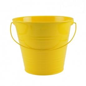 Virágtartó vödör sárga bádog, 20 cm (72249-sárga)