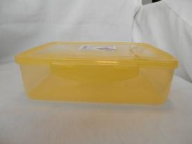 Csatos, szögletes műanyag ételdoboz 2 l sárga (579)