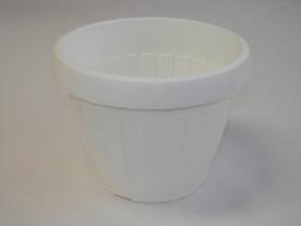 Virágtartó, hordó alakú, 40 cm, fehér műanyag