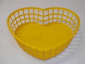 Szív alakú műanyagkosár közepes, sárga