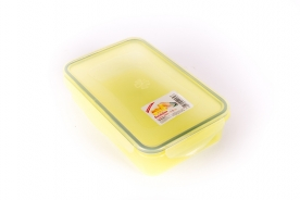 Csatos, szögletes műanyag ételdoboz 0,75 l sárga