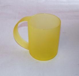 Íves fülű műanyagbögre 4 dl sárga