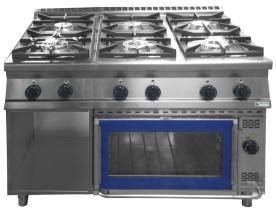 6 égős gáztűzhely GN 2/1 elektromos sütővel - GT6.912GES